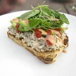  Peekytoe crab toast with avocado, French cocktail sauce and garden greens