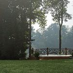 The wedding deck in early morning fog