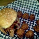 Pulled Pork Sandwich w/ Hushpuppies
