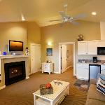 Queen suite upstairs with living and kitchenette
