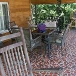 This is the upper level porch/deck at Ridge Top Motel