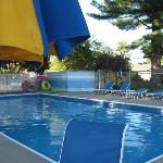 The outdoor inground heated pool