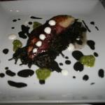  squid ink pasta with a green chili pesto