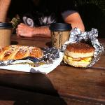  breakfast sandwich &amp; bearclaw pastry