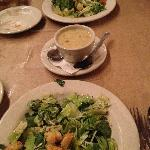 Caesar salads and cup of jalapeno craw fish chowder.
