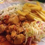 chicken and feta ( Zakinthos chicken ) fries , salad and ric