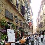  Hotel front and street leading to Trevi Fountain