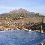 one of the hot water pool with Gunung Batur in its background