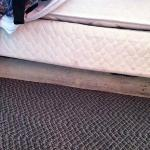 boards used to hold up the bed. let's call it rustic?