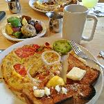  Our tasty brunch - fire-roasted veggie omelette, roasted potatoes, and sourdough french toast.