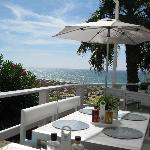  The Atlantic beach from a table in the Praca