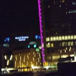 view from room at night, can see Bank of America Stadium