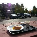 Breakfast on outside bench