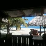 view of the beach from the restaurant / bar area