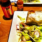 Spicy Cajun Chicken burrito &amp; Tecate beer at Serrano, Uppsala, Sweden