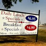 Daily specials sign out front