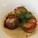 Lavender and cumin scallops with bacon and black cardamom potato sauce