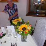  The bouquets at the table