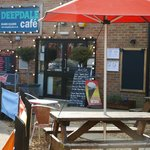 Deepdale Cafe entrance and outdoor seating