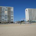 Looking toward the boardwalk and hotels from the beach
