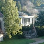 view from balcony, see the steam rising from the outdoor pool?