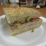 One quarter of the famous muffaletta sandwich is a single serving.