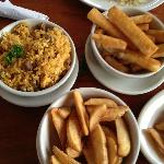 Rice with chick peas, fried yucca, french fries