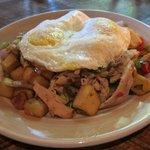 Saturday breakfast - Chicken Hash and fried eggs - also serves Trout Hash