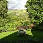 View from Room 6 over garden and Kinder Scout