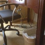 Tangled wad of wires/cords under work desk