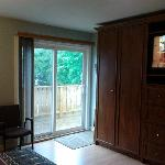  Your patio door, leading to a large deck &amp; private entrance leading down to the parking lot