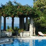 Pool area overlooking Lake Garda