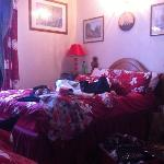 decore of the room.(minus the mess) comfortable bed and very warm room due to heater. cosy room!