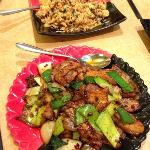 shredded pork fried rice and double cooked pork belly