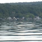 shore of lake cayuga from the water to wine boat