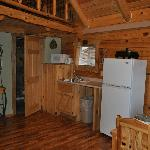 Kitchen area of Hunters Haven and door to bathroom