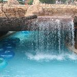 waterfall over lazy river