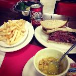  pastrami on rye, pea soup, fries, Dr Browns Black Cherry soda and sour pickle, the perfect meal