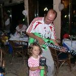 Angelos and Maria entertaining in the bar
