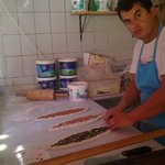cooking turkish pide in the  stone oven