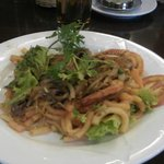 Breakfast menu - Penne Pasta with beef and shrimp