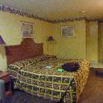 Room with Queen bed and bath