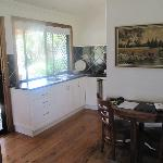  kitchenette and table area - very well equipped and complimentary tea, coffee, milk and chocolat