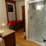 The bathroom is like a second room... for sink, bathing, and for luggage. Very modern, new, and