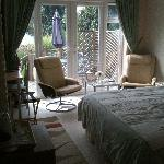 Reclining chairs by the french doors in the 'Garden Suite'