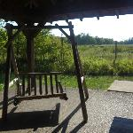  picnic shelter and swing outside cabooses