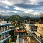 The Annapurnas from the Karma's roof