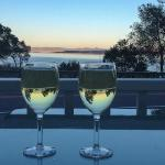 we enjoyed a glass of wine while watching the sunset, a bit noisy with the traffic, but pleasant