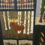  Woodsy themed shower curtain in large bathroom