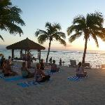 Our sunset yoga session at the Crown Beach Resort